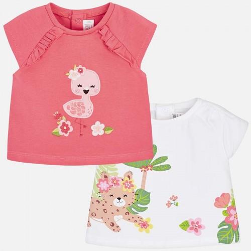 Set tricouri cu maneca scurte bebe nou-nascut Mayoral 1001PV19FLA