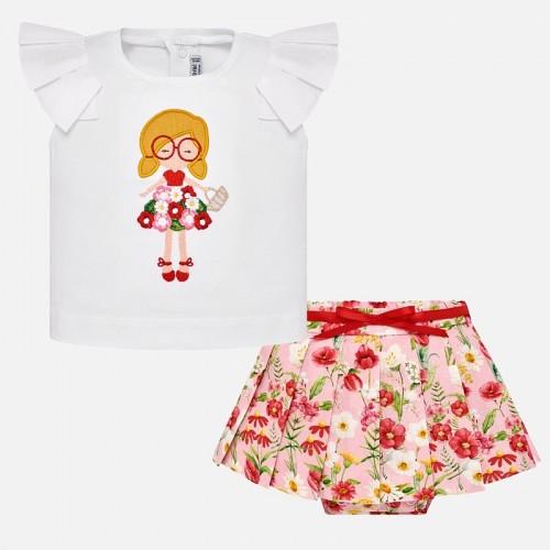 Set tricou si fusta pliuri flori bebe fetita Mayoral 1948PV19RO