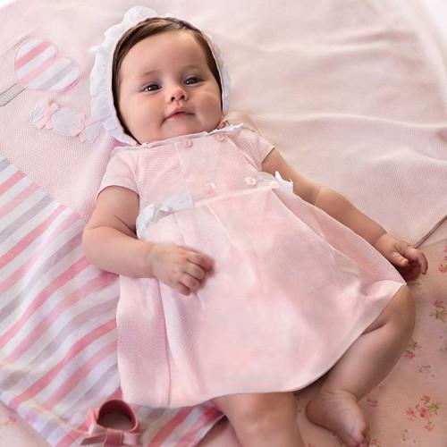 Rochie caciulita si chilotei fundita bebe fetita nou-nascuta, Mayoral, 1857PV20ROZ