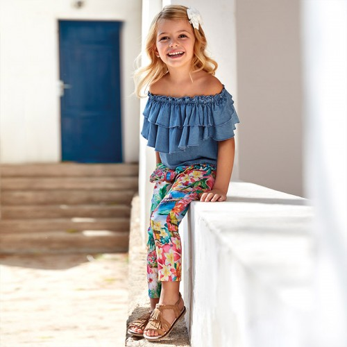 Pantaloni lungi tropical fetita, Mayoral, 3544PV20PPN2